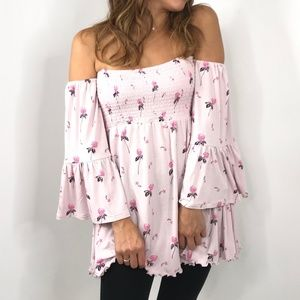 FREE PEOPLE Lana Lilac Off-the-Shoulder Top NWT